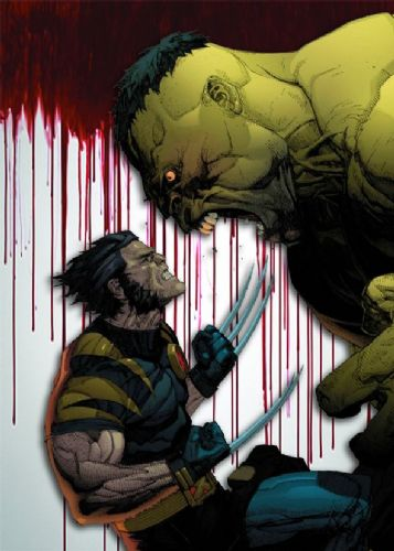 THE HULK - Vs WOLVERINE - BLOOD DRIP canvas print - self adhesive poster - photo print